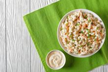 Macaroni Salad In A White Bowl, Top View