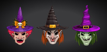 Cartoon Witches Faces On Dark ...