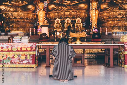 Thai buddhism pray for benefaction worship Canvas Print