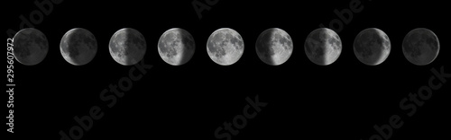 Fotomural  Phases of the Moon.Lunar cycle.