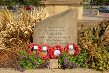 Every Year The People Of Bradford Put Wreathes Of Poppies By The Stone Commemorating The Men Of The Bradford Pals Who Fell In The First World War