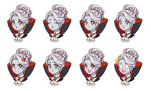 Halloween Cute Vampire Girl With Eight Different Face Expression. Blondie Girl Wearing Black Cloak. Retro 90s Anime Style Hand Draw Vector Illustration. Isolated On White Background.
