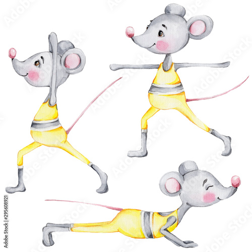 Set with cute cartoon mouses doing yoga  watercolor hand draw illustration  with white isolated background