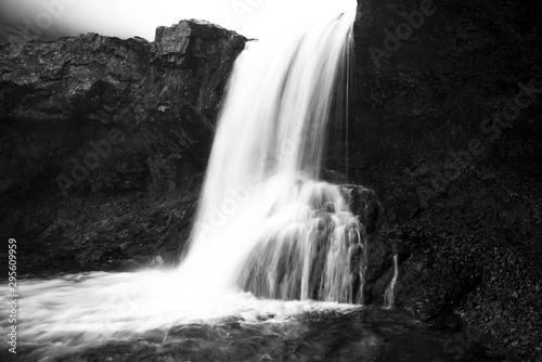 Montage in der Fensternische Grau Verkehrs Waterfall, Iceland - The Skutafoss waterfalls, Hofn, Iceland
