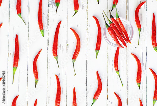 Papiers peints Hot chili Peppers Hot red pepper on a white wooden vintage background.