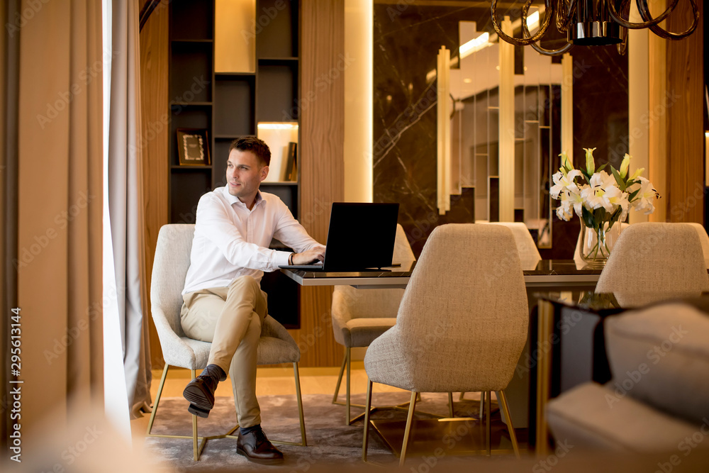 Fototapeta Business man sitting in a luxurious room in front of a laptop