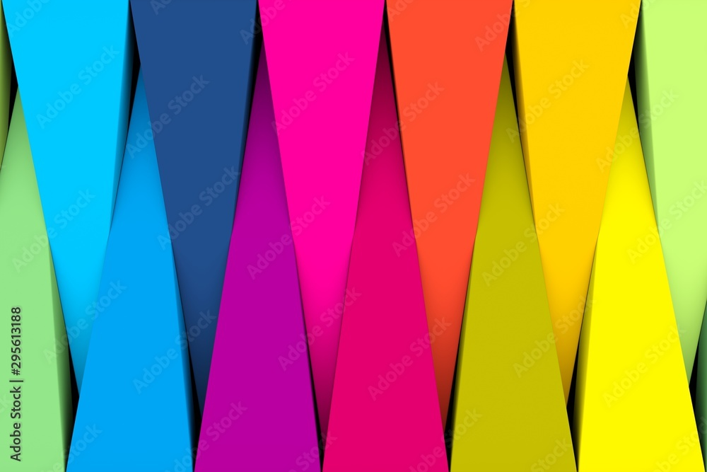 Fototapety, obrazy: Colorful abstract background with triangle 3D illustration