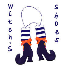 Witch S Shoes On A Rope. Halloween Vector Illustration
