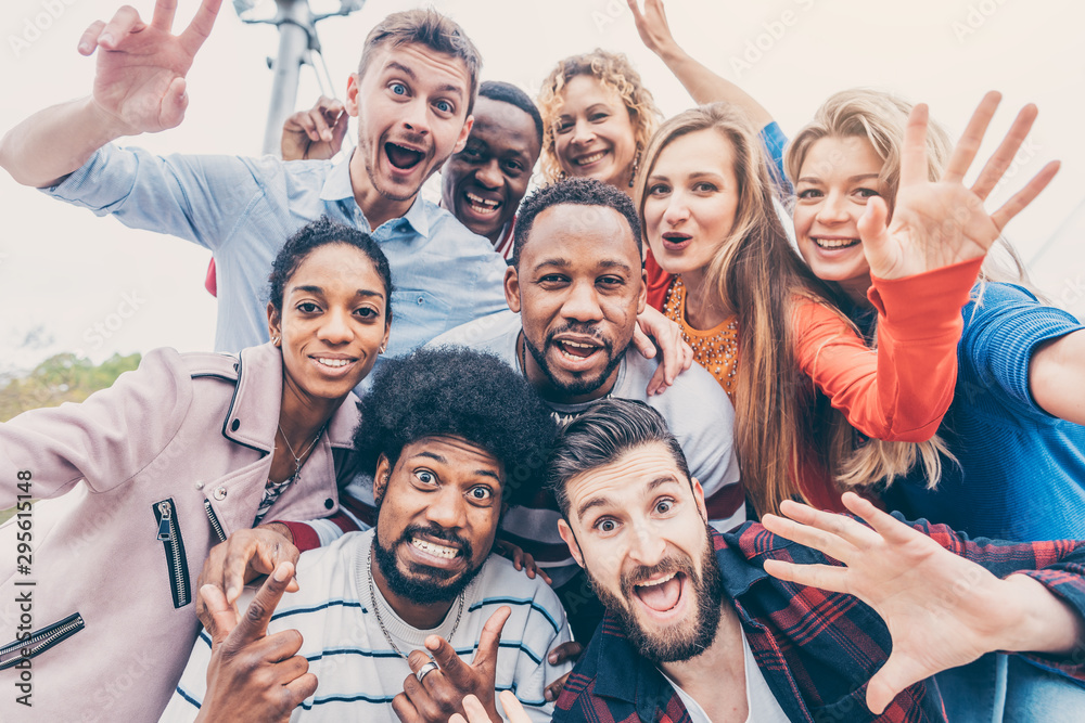 Fototapeta Friends with diversity background having fun and spending time together