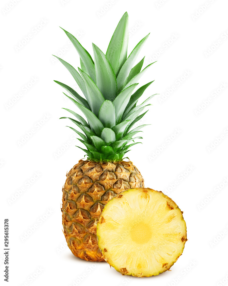 Fototapeta pineapple isolated on white background, clipping path, full depth of field