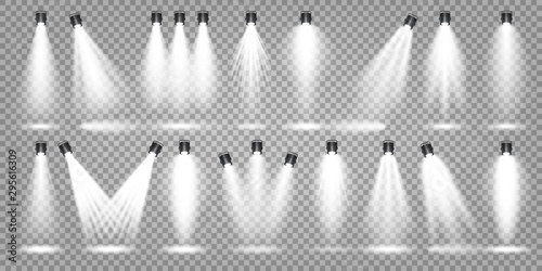 Fotobehang Licht, schaduw Vector spotlight set. Bright light beam. Transparent realistic effect. Stage lighting. Illuminated studio spotlights.