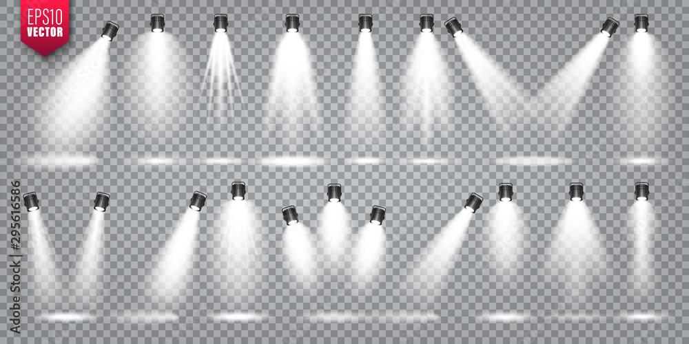 Fototapety, obrazy: Vector spotlight set. Bright light beam. Transparent realistic effect. Stage lighting. Illuminated studio spotlights.