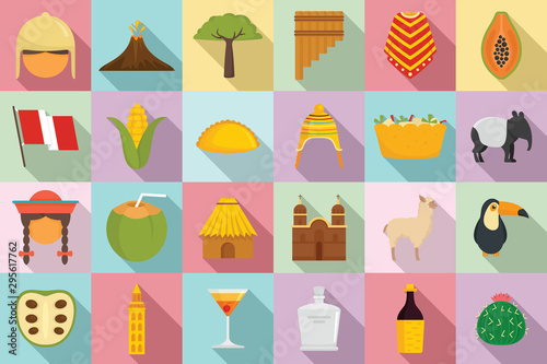 Peru icons set. Flat set of peru vector icons for web design Wallpaper Mural