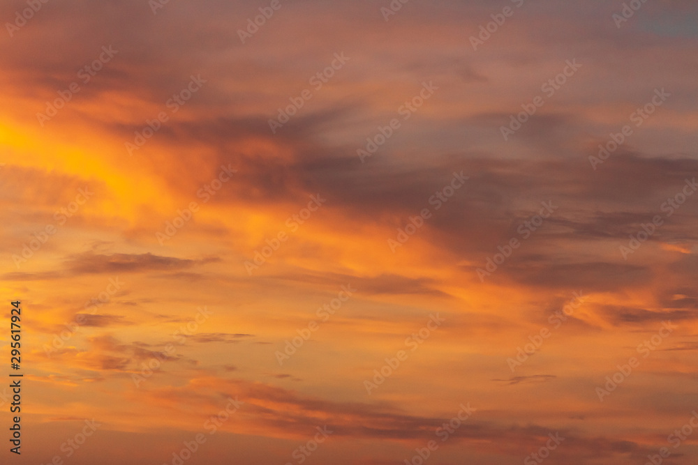 Fototapety, obrazy: Colorful dramatic sky at sunset with pasted clouds
