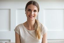 Head Shot Portrait Woman Looking At Camera Makes Video Call