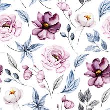 Seamless Background, Vintage Floral Texture, Pattern With Bouquets Watercolor Pink Flowers. Repeat Fabric Wallpaper. Perfectly For Wrapped Paper, Backdrop.