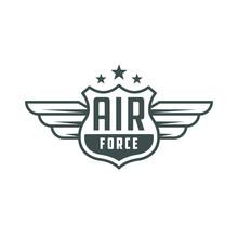 Air Force. Retro Logo, Emblem, Badge. T-shirt Print.