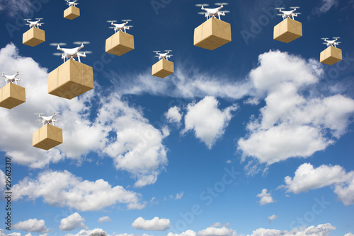 Drone delivery future transportation in logistics business concept Fototapeta