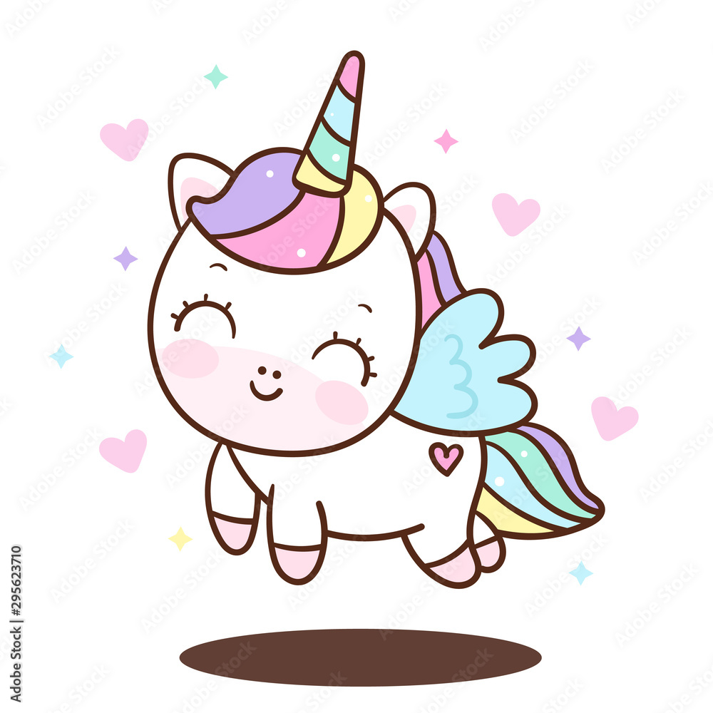 Fototapeta Cute Unicorn vector pony child princess angel animal, sweet pastel color (Illustration): Doodle Nursery decoration, hand drawn. Perfect for kid greeting card, Print t shirt, fashion artworks.