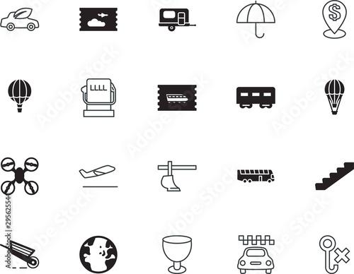 transport vector icon set such as: depart, staircase, access, cold, natural, bub Billede på lærred