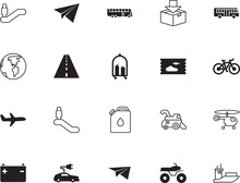 Transport Vector Icon Set Such As: Ecological, Station, Silicone Walley, S, Spin, Luggage, Water, Combine, Motocross, Round, Supply, Drop, Healthy, Trolley, Rotor, Path, Boat, Global, Suitcase