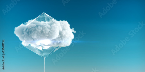 Fotomural  cloud enclosed in a crystal structure with luminous faces and glass sides concept of cloud service of cloud computing and big data 3d rendered illustration