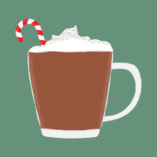 Vector Illustration Of A Mug Of Hot Chocolate Cocoa With Whipped Cream And A Red And White Candy Cane.