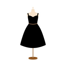 Vector Illustration Of An Isolated Plus Size Dress On A Mannequin.