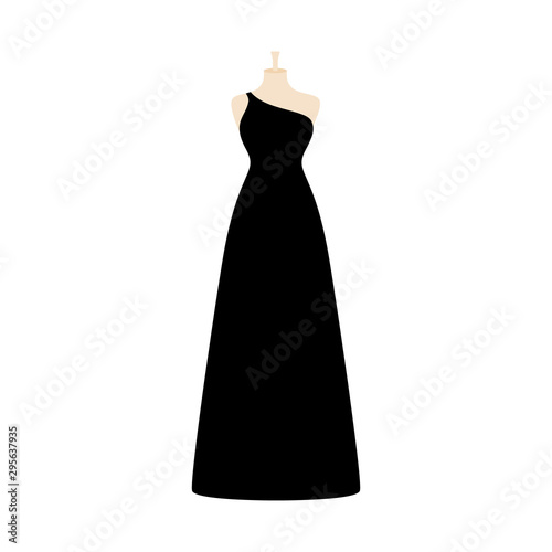 Photo Vector illustration of an isolated long elegant evening dress on a mannequin