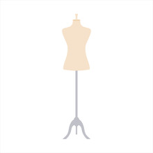 Vector Illustration Of An Isolated Dressmakers Tailors Mannequin.