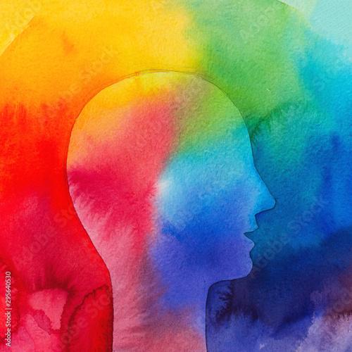 Profilo di una persona emozioni. Dipinto colorato Canvas Print