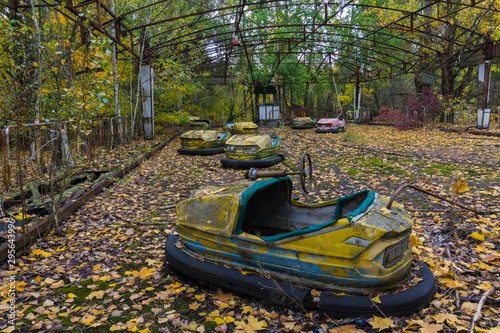 The Bumper Cars of the Abandoned Amusement Park in the Evacuated City of Pripyat Wallpaper Mural