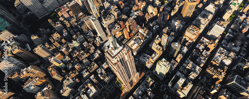 Leinwand Poster Aerial view of the skyscrapers of Midtown Manhattan New York City