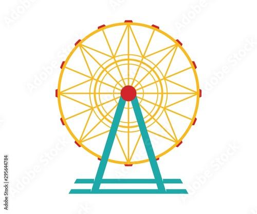 Fototapeta Ferris wheel Vector Icon. Ferris wheel icon in cartoon style isolated on white background obraz