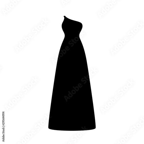 Vector illustration of an isolated black asymmetric long dress. Wallpaper Mural