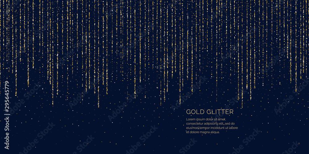 Fototapeta Bright vector illustration Magic rain of sparkling glittery particles lines.
