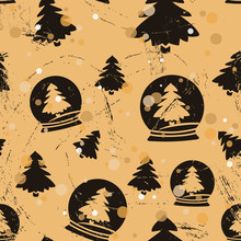 Seamless Pattern With Christmas Tree And Snow Globe In Old Retro Style. Repeated Vintage Pattern Grunge Design For Wrapping Paper Or Background. Craft Paper Imitation. Christmas Or New Year Mood