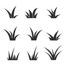 Black Lawn Grass Icon Set Vector Design Template. Isolated On White Background.