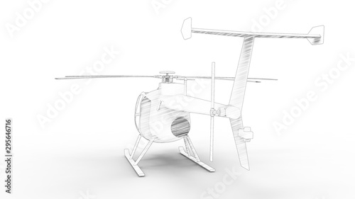 Photo  3d rendering of a small helicopter isolated in white background