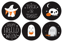 Cute Hand Drawn Halloween Round Shape Stickers. Little White Ghosts On A Black Background. Halloween Candybar Decoration Set. Trick Or Treat. Sweet Little Pumpkins And White Funny Skulls.