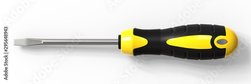 Foto Yellow and black handle screwdriver on white background