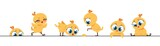 Cute chicken border. Funny baby chick, little flat characters frame design for greeting cards. Vector cartoon design background with little poultry farm birds on white