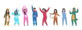 Fototapeta Dinusie - Characters in pajamas. Cartoon men and women in different pajamas, superheroes and animals costumes. Vector illustration pajama party, person in costume set rabbit giraffe superhero unicorn tiger