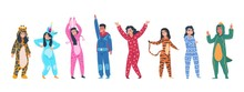 Characters In Pajamas. Cartoon...