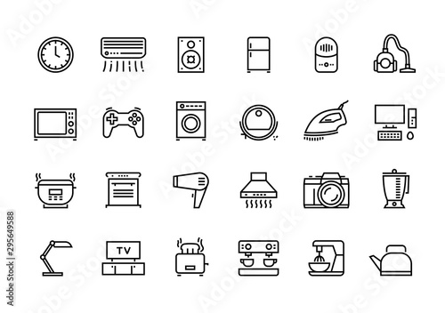 Home appliances line icons. Household electric devices, kitchen equipment and smart utensils. Vector illustration outline TV microwave lamp and other house electronics set for logo services