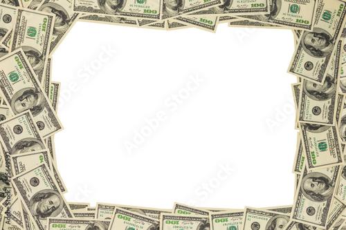 Photo us dollar money frame mockup isolated on white background