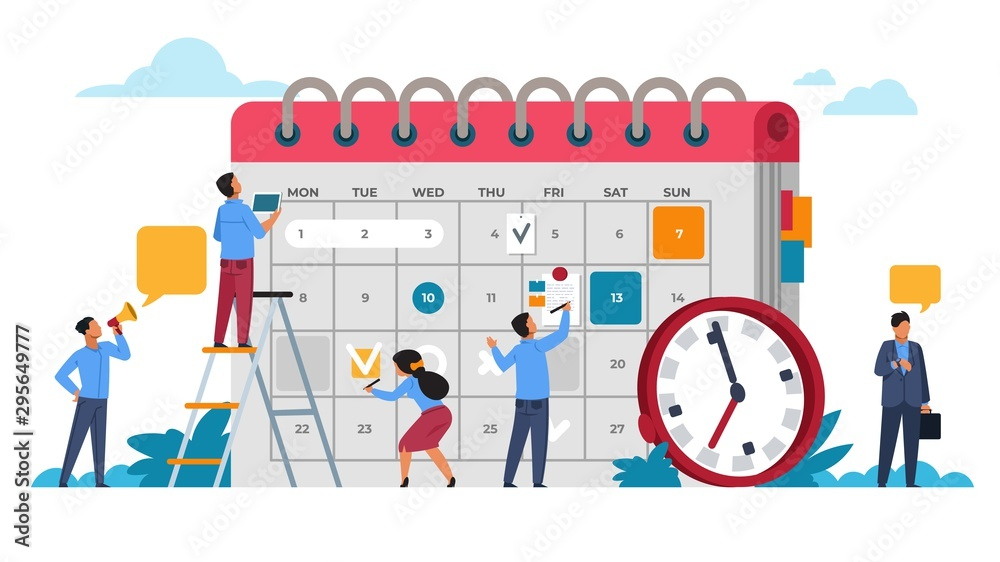 Fototapeta People planning concept. Entrepreneurship and calendar schedule planning with filling course campaign. Vector illustrations business meeting and events organizing process office working