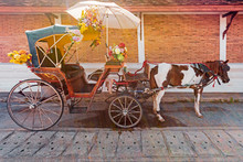 The Horse Carriage In Lampang At Wat Phra That Lampang Luang , Lampang Province In LAMPANG THAILAND.