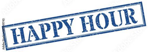 Stampa su Tela happy hour stamp. happy hour square grunge sign. happy hour