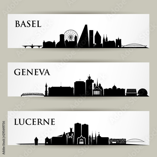 Cites skylines in Switzerland - vector illustration - Basel, Geneva, Lucerne Poster Mural XXL